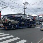 新車の日産ピックアップトラック輸送中(画像あり)  [144189134]